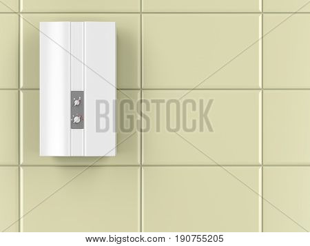 Automatic water heater in the bathroom, 3D illustration