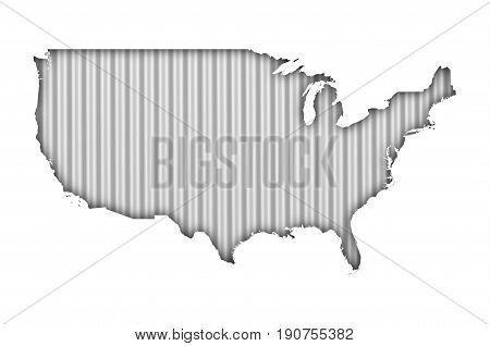 Map Of The Usa On Corrugated Iron