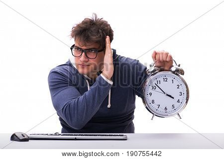 Funny nerd call center operator with giant clock