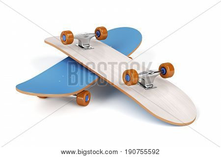 Two skateboards on white background, 3D illustration