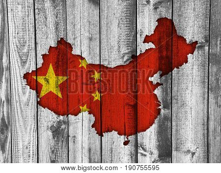 Map And Flag Of China On Weathered Wood