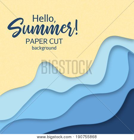 Hello Summer. Paper art cartoon abstract waves in realistic trendy craft style. Modern origami design template. Concept inspiration or idea for your projects. Vector illustration beach or seashore stylized.