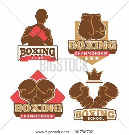 Boxing club and school logotypes collection isolated on white. Emblems of sport company with training man silhouette and boxing gloves above some instriptions. Active lifestyle template poster