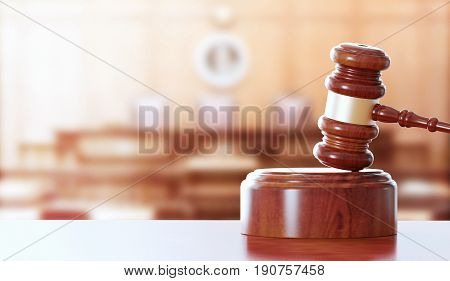 Hammer or gavel for judge, justice, 3d render illustration