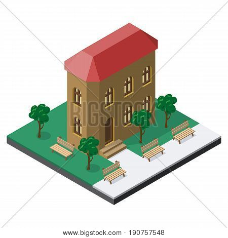 Two-story building with benches and trees in isometric view.