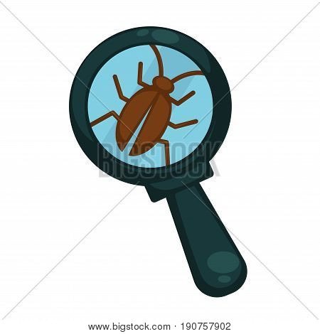 Small brown cockroach under blue magnifying glass with big zoom isolated vector illustration on white background. Fauna small species exploration with special tool. Harmful insect that lives in dirt.