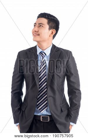 Portrait Of Happy Confident Asian Man Standing Looking At His Side