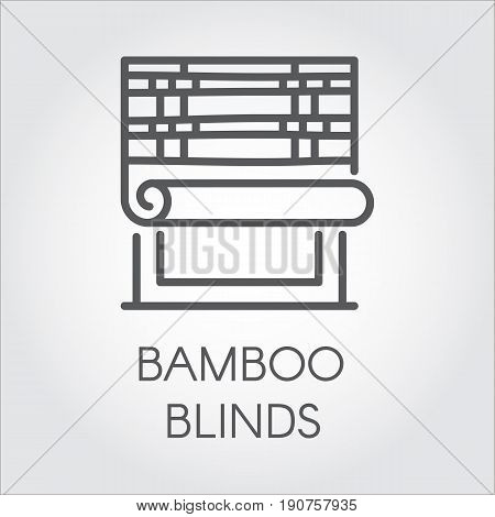 Window bamboo blinds icon in line style. Interior design contour logo for store catalog and other design needs. House or office decor concept. Vector simplicity label