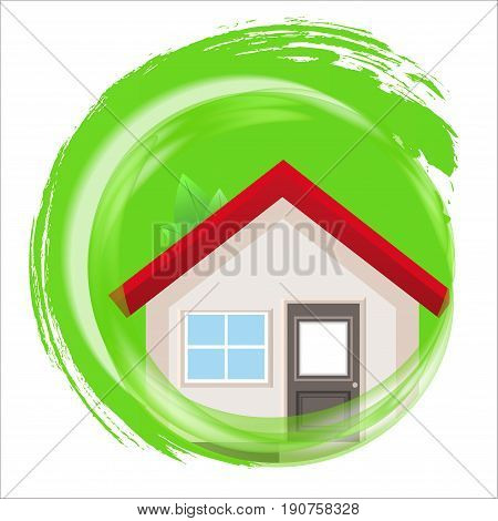 Eco-friendly construction circle eco house icon. Vector illustration.