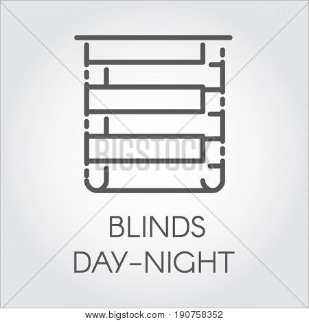 Simple line logo of blinds day-night. Pictograph for home and office interior design concept, shop catalog, online shops and other projects. Icon drawing in outline style. Vector graphic label
