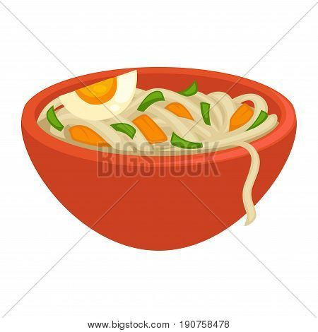 Tasty noodles of fast cooking with fresh cutted greens, crispy carrot slices and boiled egg piece in big orange bowl isolated vector illustration on white background. Nourishing snack during day.