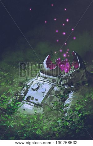 the remains of the astronaut with glowing insects covered with plants digital art style illustration painting
