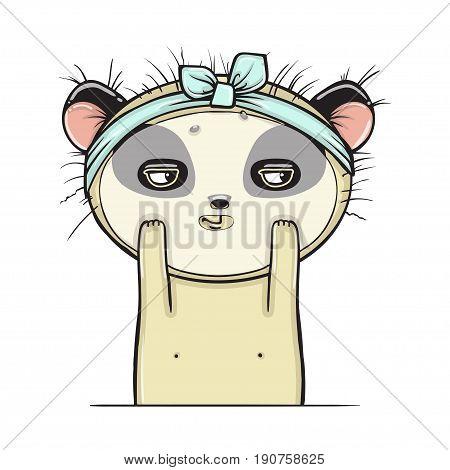 Panda gets a facial, isolated , Facial treatment Vector illustartion.