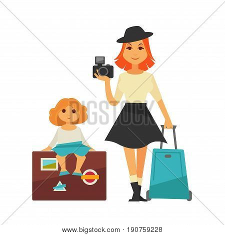 Mother in black hat, white sweater, line skirt and boots stands with photo camera and suitcase, little girl in blouse and blue skirt sits on valise with stickers isolated vector illustration.