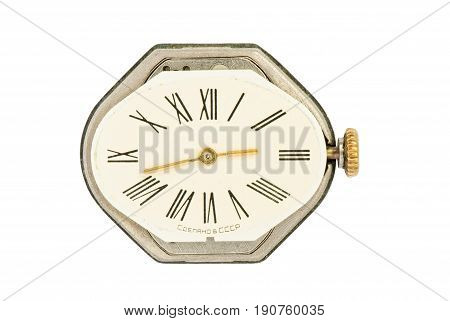 An old Soviet Union woman's watch on a white background - macro picture.