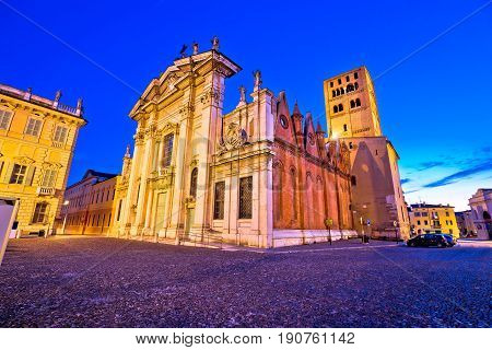 Mantova City Piazza Sordello And Cathedral Evening View