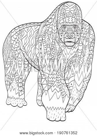 Vector coloring gorilla for adults illustration. Anti-stress coloring for adult animal. Zentangle style. Black and white lines. Lace pattern