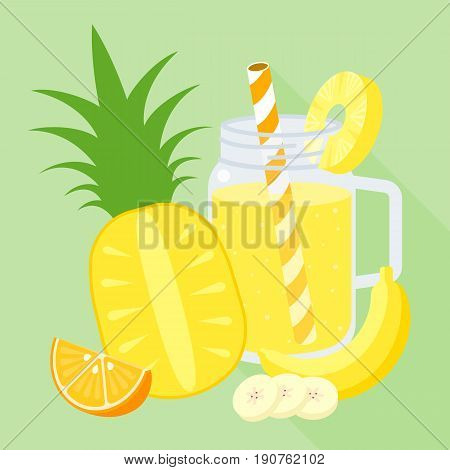 smoothie mixed fruit blend in mason jar, orange, banana, pineapple, flat design vector