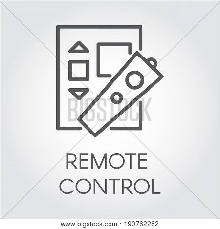 Remote control label simplicity icon in line style. Black logo for websites, mobile apps and other design needs. Vector pictograph. Outline symbol