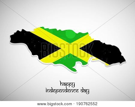 illustration of Jamaica map in Jamaica flag background with Happy Independence day text