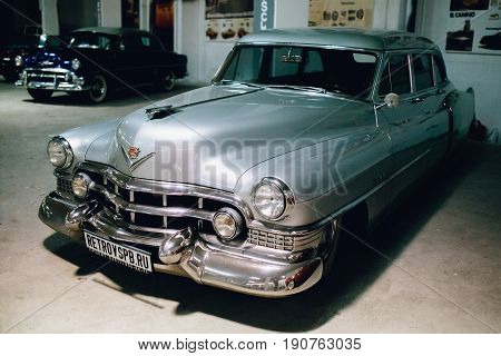 ST PETERSBURG, RUSSIA - JUNE 1, 2017: Cadillac Coupe Deville 1951, Gray executive car old classic retro auto era great gatsby
