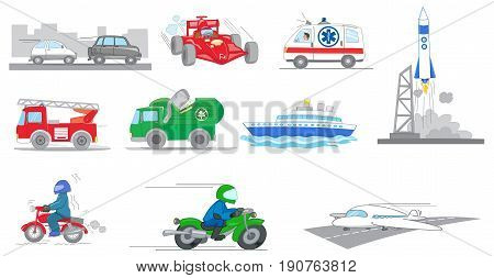 Cars ships motorbikes truck and special vehicles collection illustrated vector