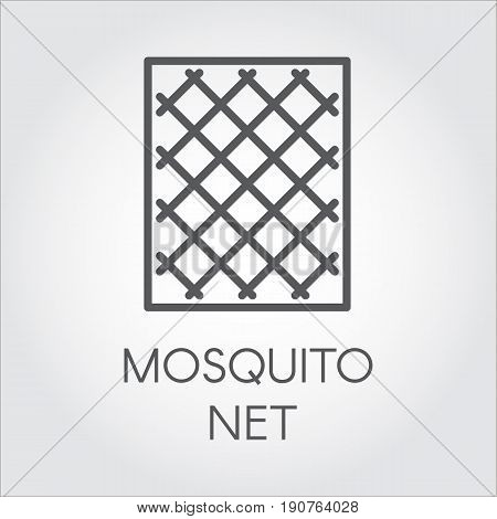 Simplicity icon in linear style of mosquito nets for windows. Concept of protection of premises from insects. Logo for shop catalogue, online shops and other projects. Vector outline label
