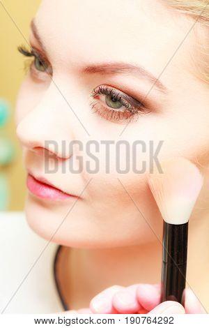 Close Up Woman Getting Make Up, Blush