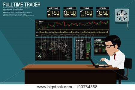 Trader is trading stock in blue trading room