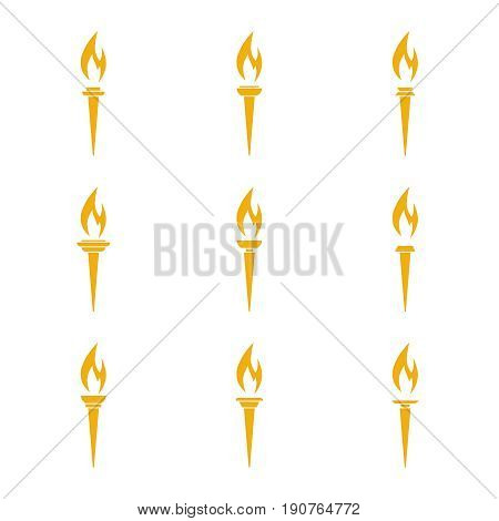 Vector icon of  torch with a flame. Set yellow torches