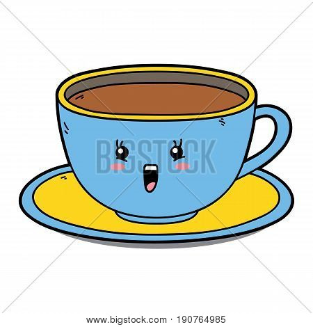 Vector illustration of cute cartoon cup character for children and scrap book
