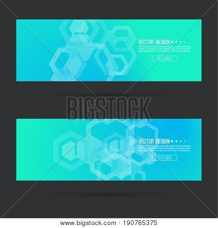 Abstract footer with transparent cubes, hexagons carcass. Techno design of future. technology, science, research. cyberspace cells. Digital Data Visualization. Futuristic vector header. Blue green