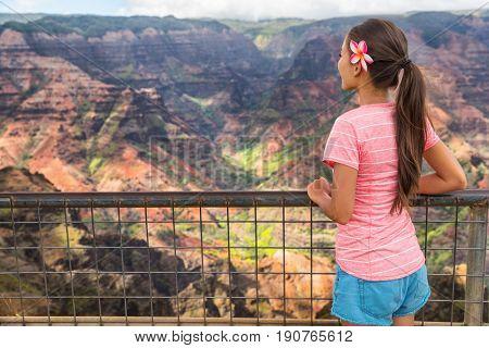 Hawaii nature travel girl looking at Kauai mountains canyon. Hiker woman tourist enjoying lookout at Waimea Canyon, popular tourist destination.