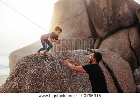 Father And Son Having Fun On Summer Holidays