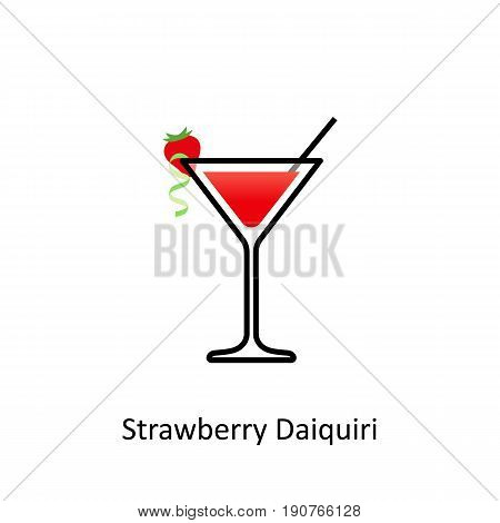 Strawberry Daiquiri cocktail icon in flat style. Vector illustration