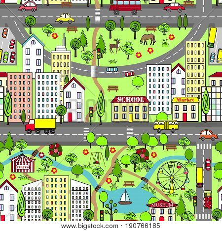 Cartoon city vector landscape for kids cards and other usage.