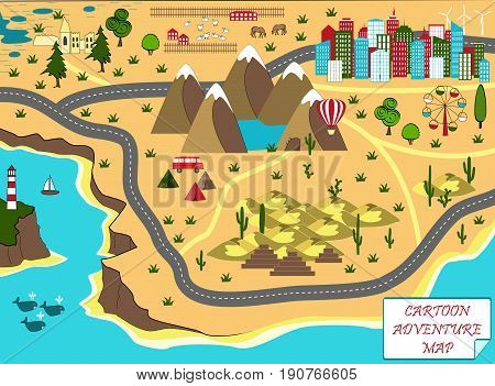 Cartoon map with sea mountains desert and city. Adventure space with mystical swamp old ruins mountains lake cave desert and pyramids