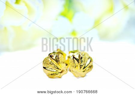 Gold Pendant Cameo Earring Jewelry With Flowers Isolated On White