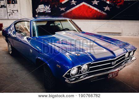 ST PETERSBURG RUSSIA - JUNE 1 2017: 1967 Chevelle SS 396 blue executive car old classic retro auto era great gatsby