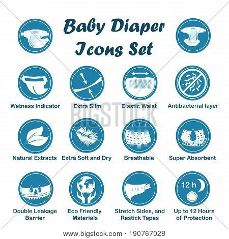Diaper characteristics icons. Natural extracts slim antibacterial wetness indicator stretch sides restick tapes eco friendly leak barriers super absorbent elastic waist breathable soft dry
