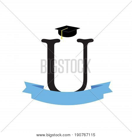 Graduate hat concept. University logo. Graduation from university with ribbon isolated