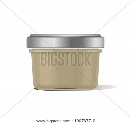 Vector illustration glass jar for baby food realistic bank on white background. Organic baby food puree. Mock up with template design label.
