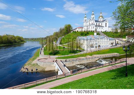 Holy Dormition Cathedral on Assumption Mount and Holy Spirit Monastery at confluence of rivers Vitba and Western Dvina Vitebsk Belarus