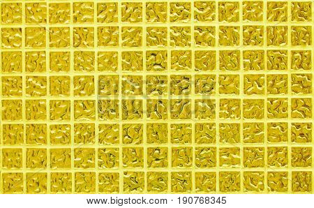 Gold tile wall of high resolution real photo or brick seamless and texture of interior background