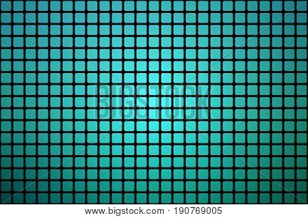 Turquoise shades vector abstract mosaic background with rounded corners square tiles over black