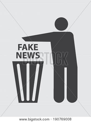 Concept disposal fake News. Symbol Vector illustration.