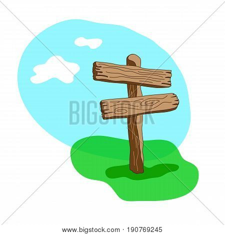 Two Arrow Shapes Blank Cartoon Wooden Signpost