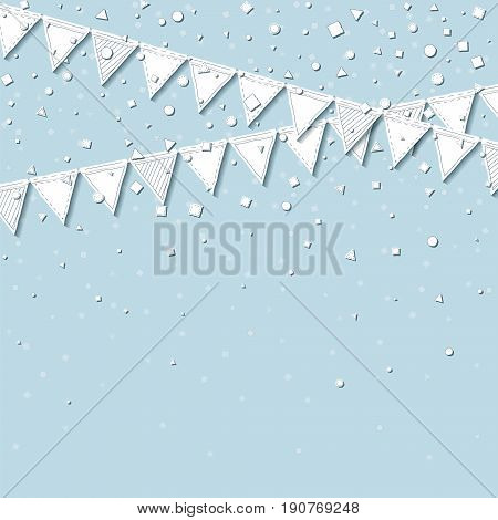 Garland Flags. Admirable Celebration Card With White Stitched Cutout Paper Garland Flags And Confett