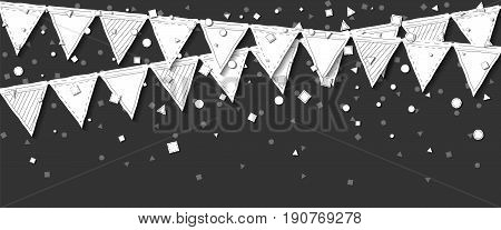 Garland Flags. Comely Celebration Card With White Stitched Cutout Paper Garland Flags And Confetti O