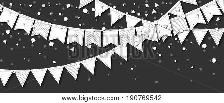 Party Flags. Unusual Celebration Card With White Stitched Cutout Paper Party Flags And Confetti On D
